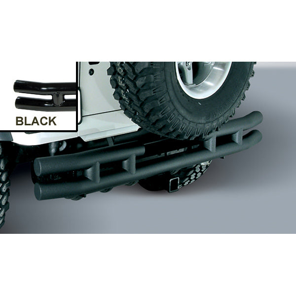 For Jeep Wrangler TJ YJ Stainless Steel Double Bar Rear Bumper Protector Guard Black