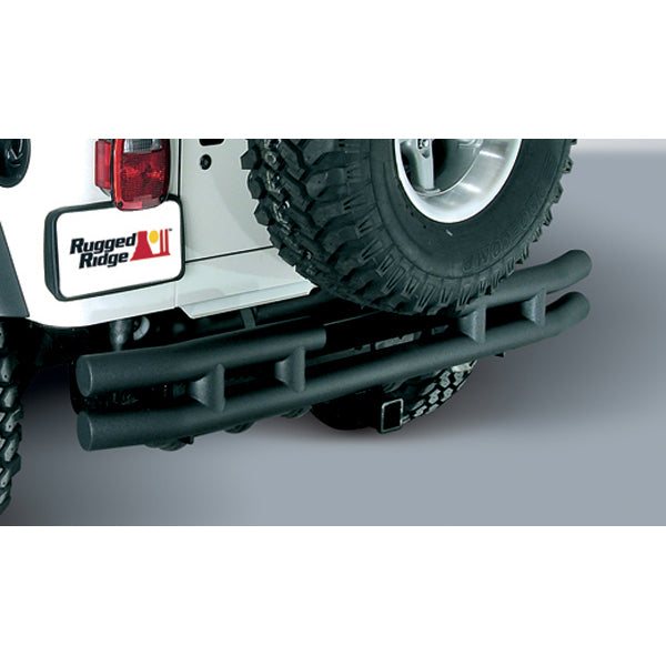 Double Tube Bumper, Rear, 3 Inch, Hitch; 87-06 Jeep Wrangler YJ/TJ - 11571.04