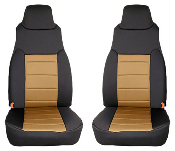 Seat Cover Kit, Front, Neoprene, Tan; 97-02 Jeep Wrangler TJ - 13210.04