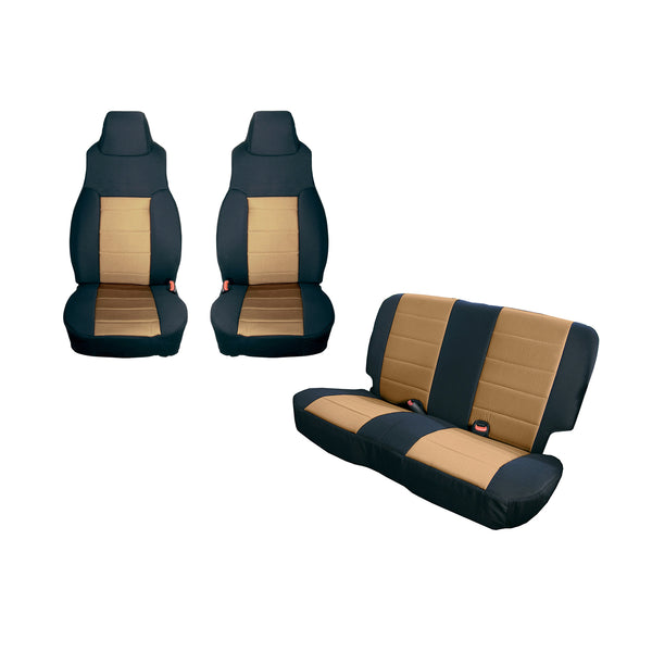 Seat Cover Kit, Black/Tan; 03-06 Jeep Wrangler TJ - 13293.04