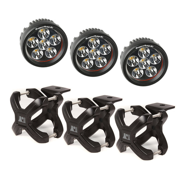 Light Kit, X-Clamp/Round LED, Large, Black, 3 Pieces - 15210.06