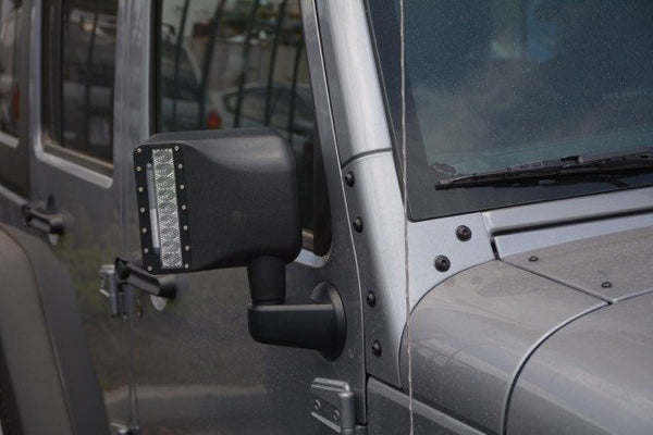 Jeep JK LED Mirrors with Turn Signal Option 07-18 Wrangler JK DV8 Offroad - BCME27W3W