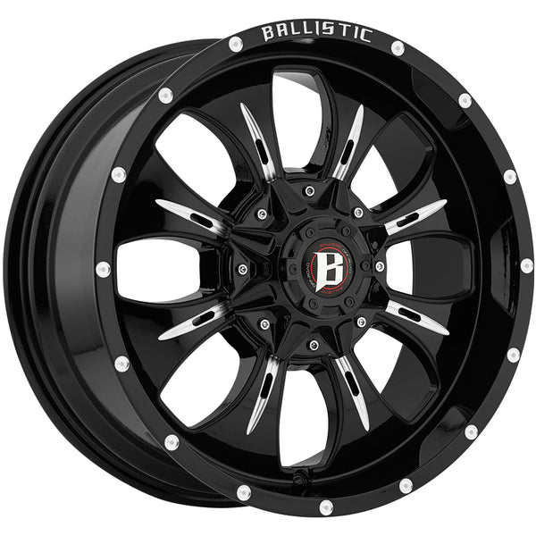 Jeep Ballistic Off-Road 951 Dagger Gloss Black Milled 20x9 Wheels - 951290060+12GBX