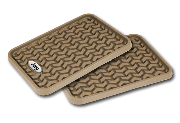Floor Liner, Rear; Tan, Universal Jeep Logo    - DMC-83950.01