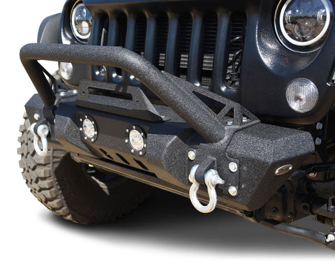 Jeep JK / JL / Gladiator Mid Length Stubby Front Bumper LED Lights/Winch Plate DV8 Offroad - FS-11