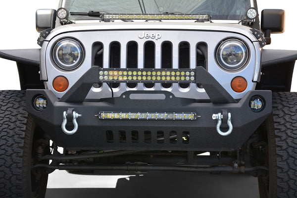 Jeep Wrangler JK / JL / Gladiator Steel Mid Length Front Bumper with Fog Lights DV8 Offroad - FS-17