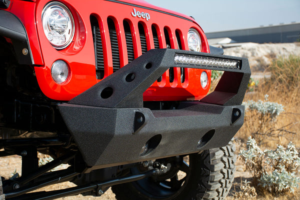 Jeep JK/JL/Gladiator Steel Stubby Front Bumper 20 Inch Light Bar and Winch Plate DV8 Offroad - FS-25