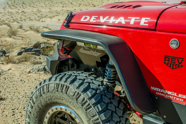 Jeep JK Flat Tube Fenders Front and Rear 07-18 Wrangler JK DV8 Offroad - FENDB-02