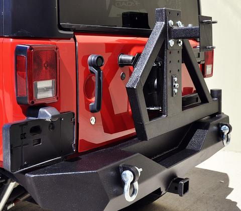 Single Action Rear Bumper and Tire Carrier with Bearing DV8 Offroad - RBSTTB-02