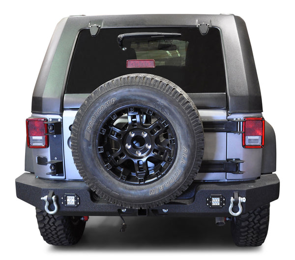 Jeep JK Rear Bumper 07-18 Wrangler JK with Light Holes Full Length DV8 Offroad - RBSTTB-11