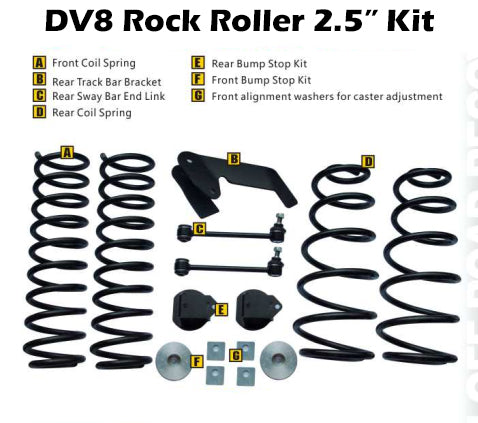Jeep Wrangler JK Rock Roller 2.5 Inch Lift Kit w/ Shocks DV8 Offroad - RR25JK-01SH