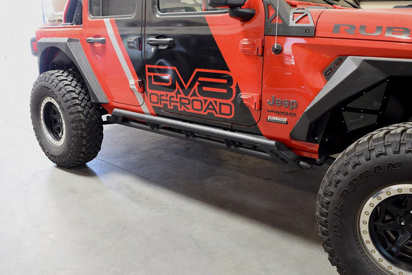 Jeep JL Tubular Rock Slider with Plated End Caps 18-Up Wrangler JL 4-Door DV8 Offroad - SRJL-03