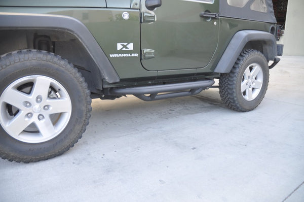 Jeep JK Rock Guard/Sliders Black 07-18 Wrangler JK 2 Door Steel DV8 Offroad - SRSOTB-03