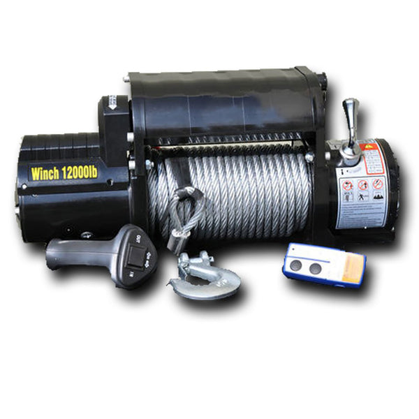 12,000lb Winch Black with Steel Cable & Wireless Remote DV8 Offroad - WB12SC