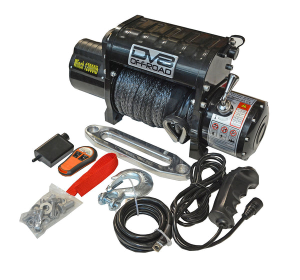 12,000lb Winch Black with Synthetic Line & Wireless Remote DV8 Offroad - WB12SR
