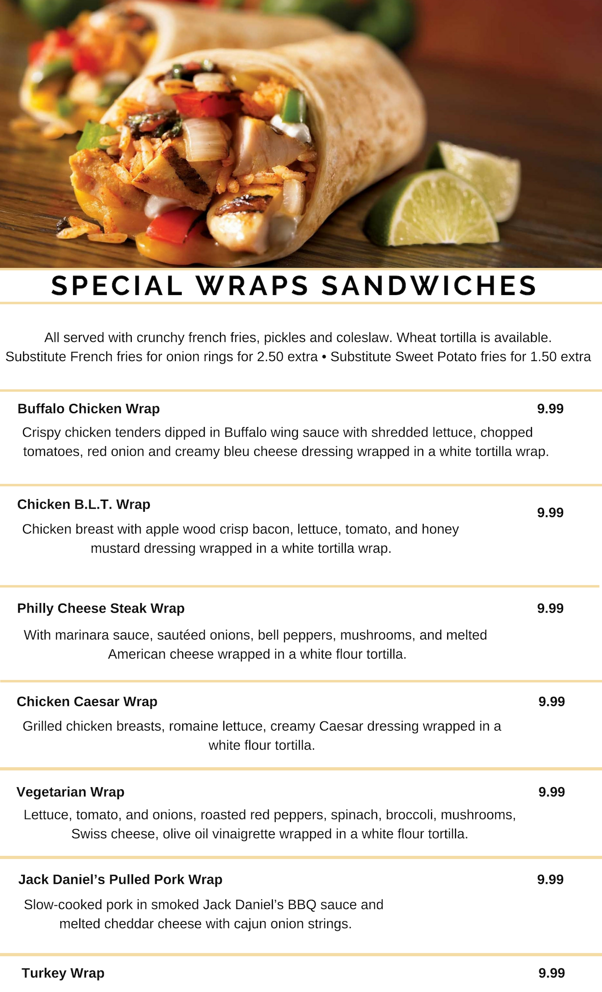 SPECIAL WRAPS SANDWICHES