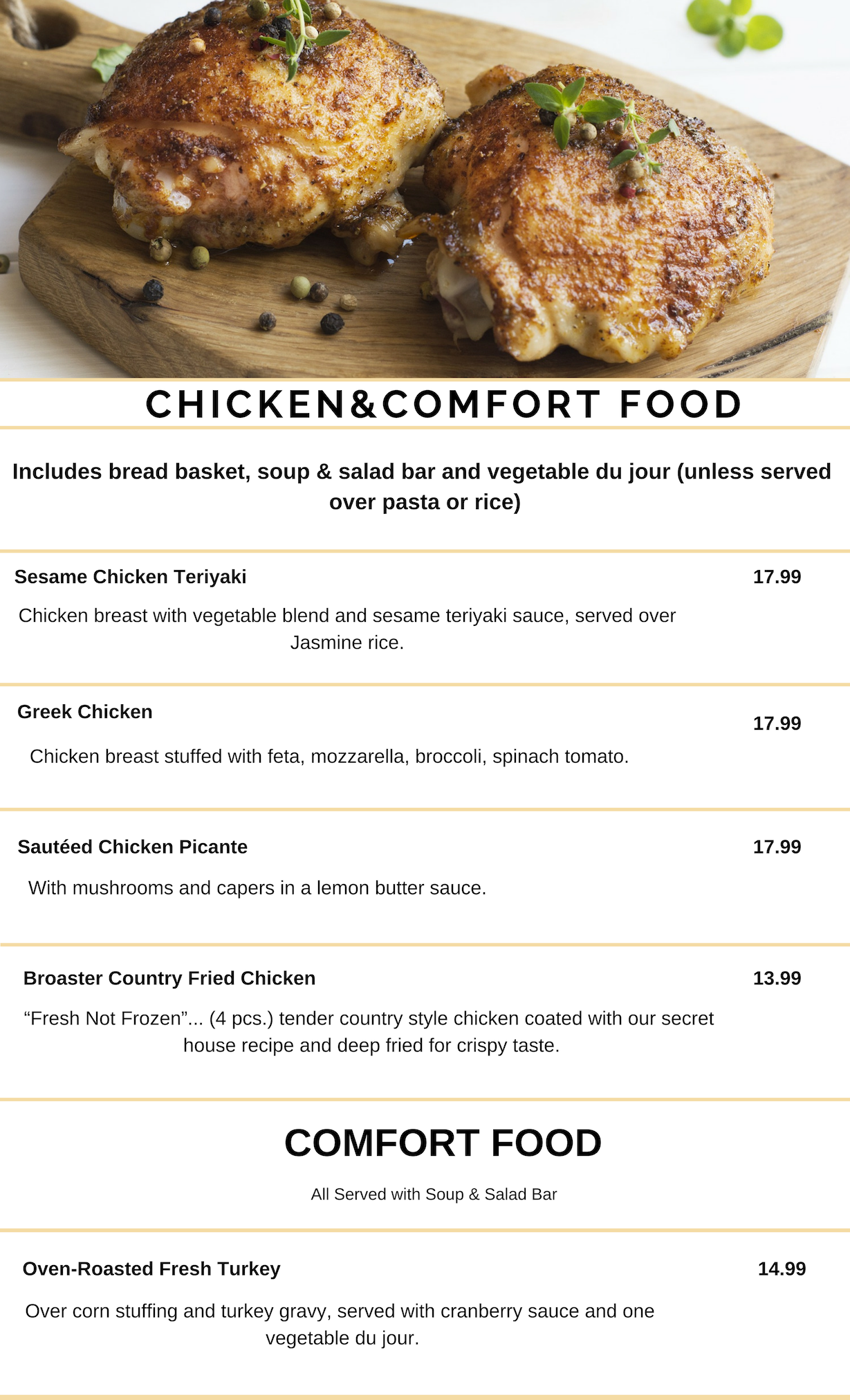 CHICKEN & COMFORT FOOD