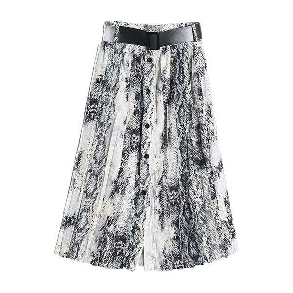 Women American Style Snake Print High Waist Long Pleated Skirt Mid-calf Length