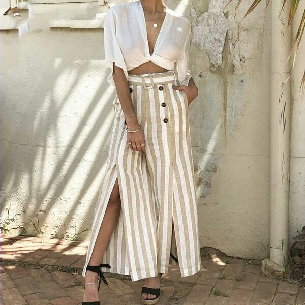 Women Elastic high waist wide leg button linen trousers Elegant