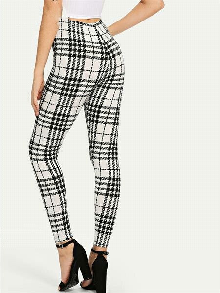 Black And White Office Women Elegant Leggings