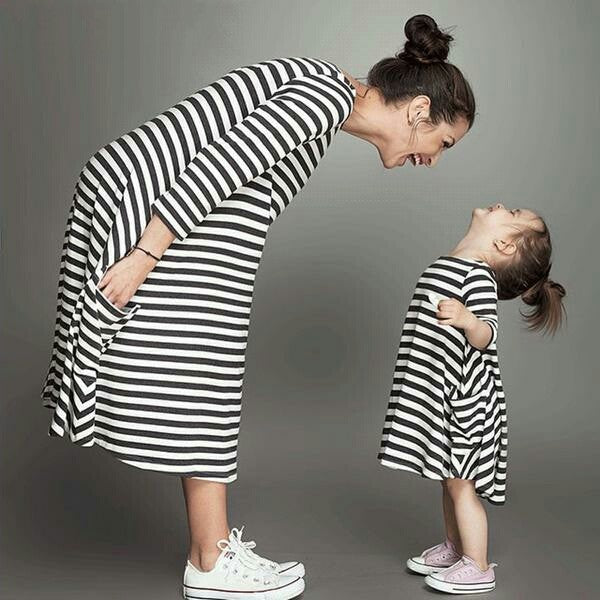 New Spring&Autumn Style Family Matching Outfits Mother And Daughter  Black Striped Dress