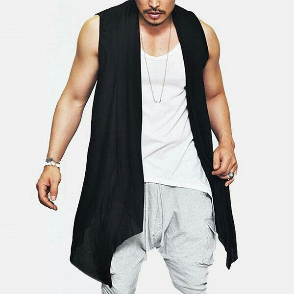New Summer Men's Vest Long Style Vest Jacket Sleeveless Shawl Waistcoat Cardigan Coat