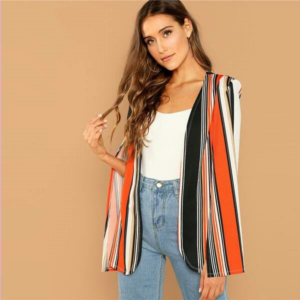 Multicolor Open Front Striped Cape Cloak Sleeve Coat  Lady