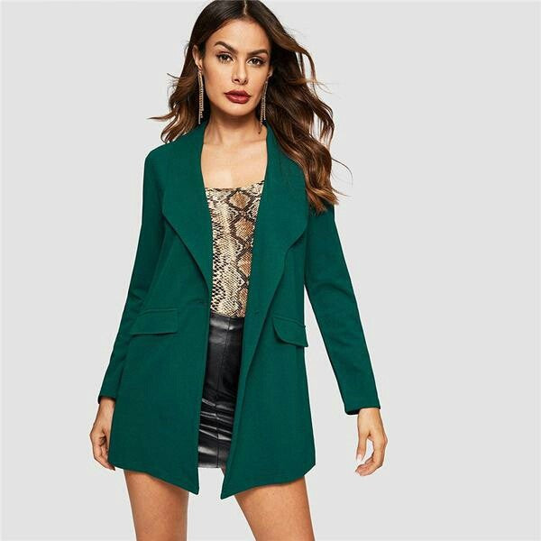 Green Drop Shoulder Single Shawl Collar Buttoned Pocket Coat Women Fashion