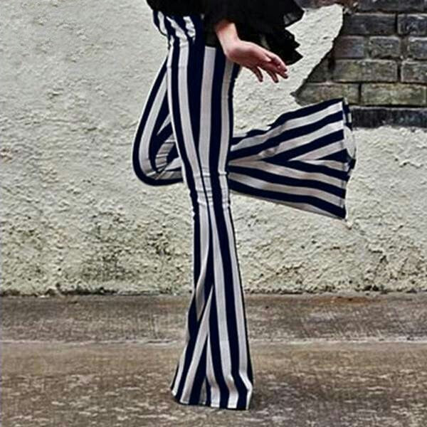 Plus Size 2019  Women Pants Striped Vintage Pantalones Femme Long Flare Trousers