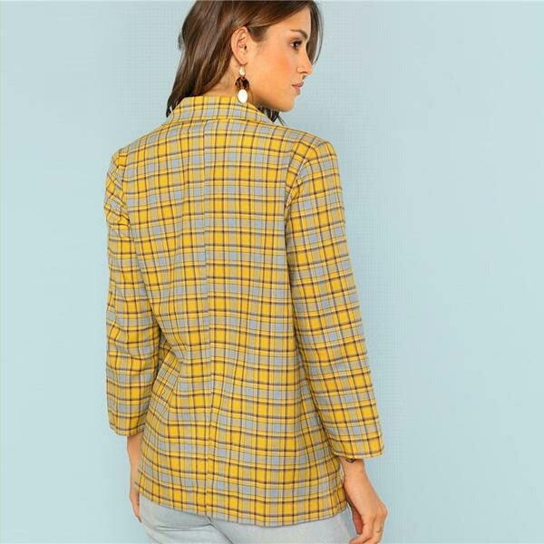 Yellow Office Lady Elegant Blazer