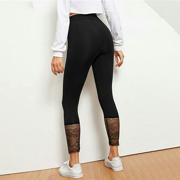 Black Lace Contrast Solid Leggings Casual Plain Capris Highstreet Leggings Women