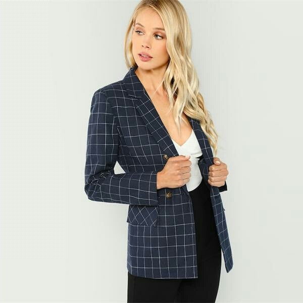 Navy Cotton Office Lady Elegant Women  Coat