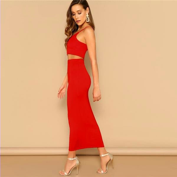 Sexy Red Crop Cami Spaghetti Strap Top and Bodycon Pencil Skirt Set Women Elegant  Two Piece