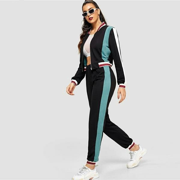 Black Color Block O-Ring Zip Up Stand Collar Sweatshirt and Sweatpants Set Women