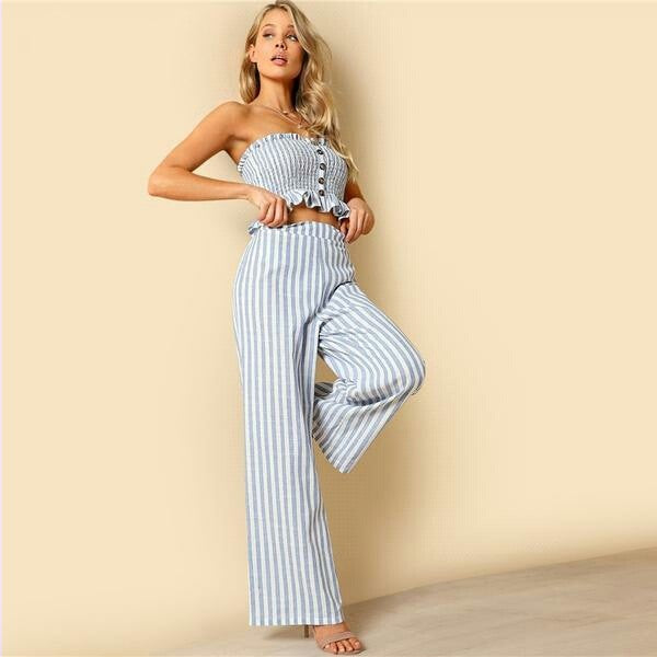 Blue Bohemian Shirred Ruffle Hem Strapless Crop Cami Top and Wide Leg Pants Striped Sets Women Two Piece Set