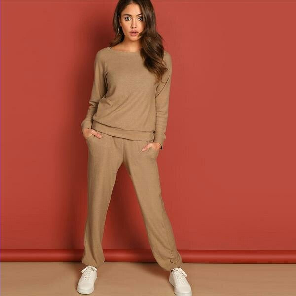 Round Neck Solid Pullover and Slant Pocket Plain Pants  Spring Women Minimalist Streetwear Twopiece