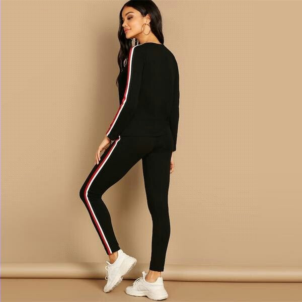 Streetwear Black Striped Tape Tee & Pants Long Sleeve Round Neck Set Women Two Pieces