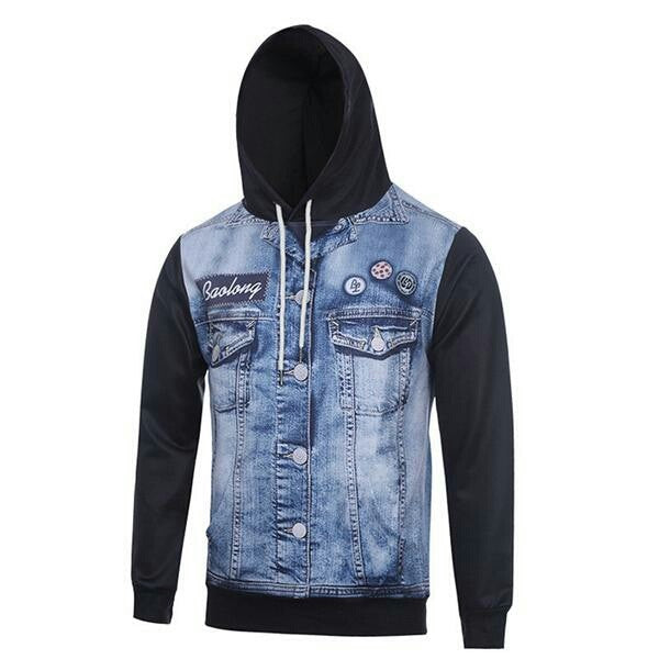 brand fashion jeans pattern 3D printed hooded men's  sweatshirt