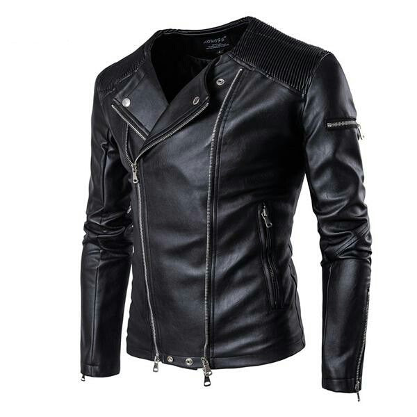 Spring Leather Jackets Men Collarless Motorcycle Jackets for Men Slim Fit Zippers Mens