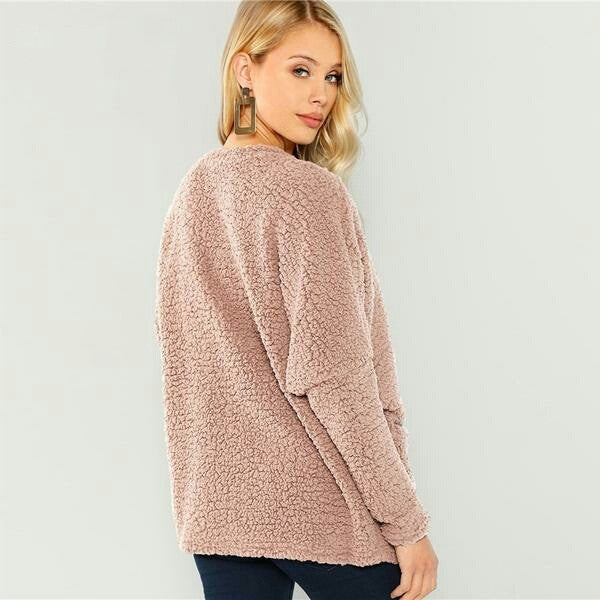 Pink Patch Pocket Open-Front  Coat  Long Sleeve