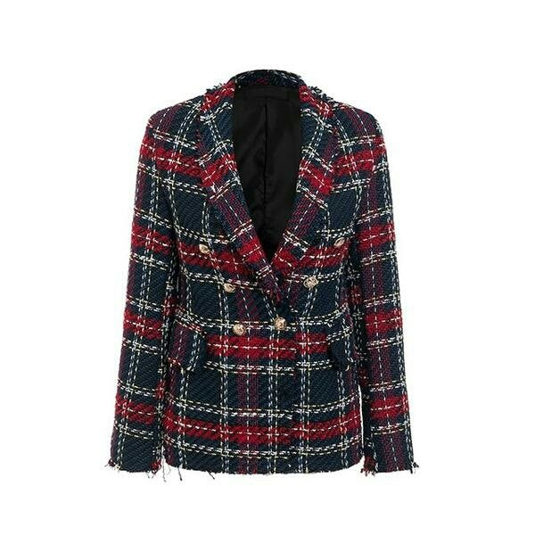Casual tweed plaid blazer women Red blend winter jacket coat