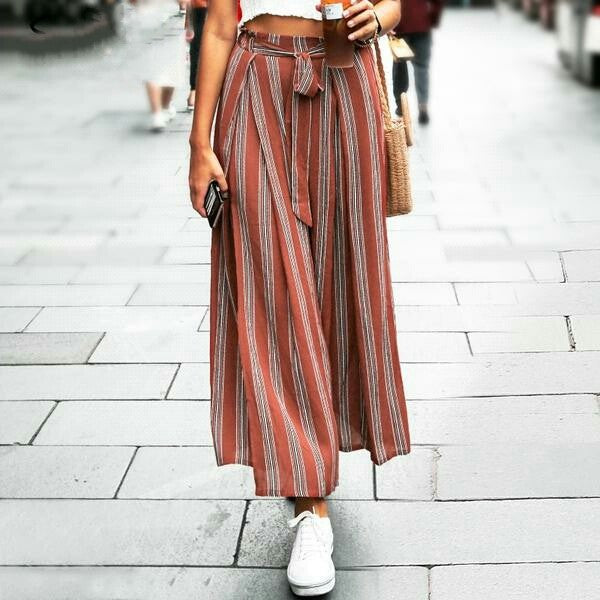 Split striped lady wide leg pants women high waist trousers