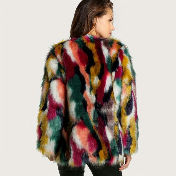 Women Elegant Fur Coats Colorful Faux Fur Coat Multicolor Long Sleeve