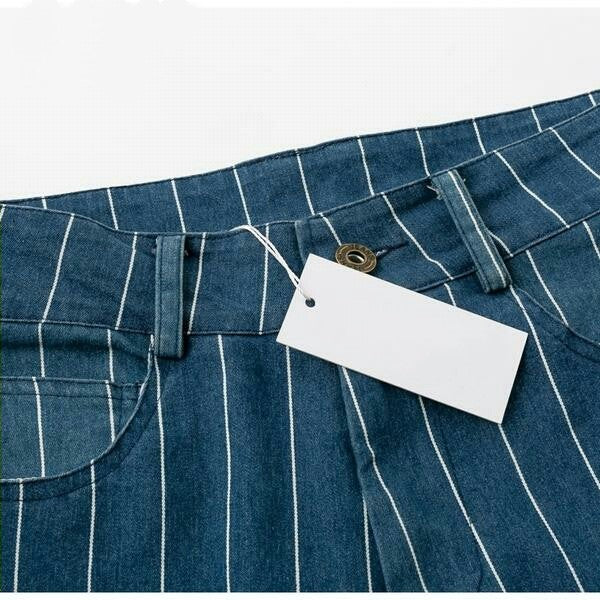 Sexy stripe blue jeans women pants