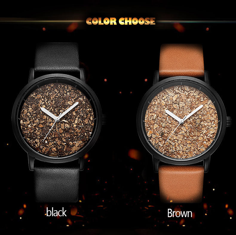 Natural Gravel Stone Face Fashion Men Brand Quartz Watches