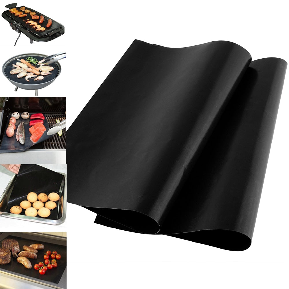 1pcs Reusable Non-stick Surface BBQ Grill Mat Baking Sheet Hot Plate Easy Clean