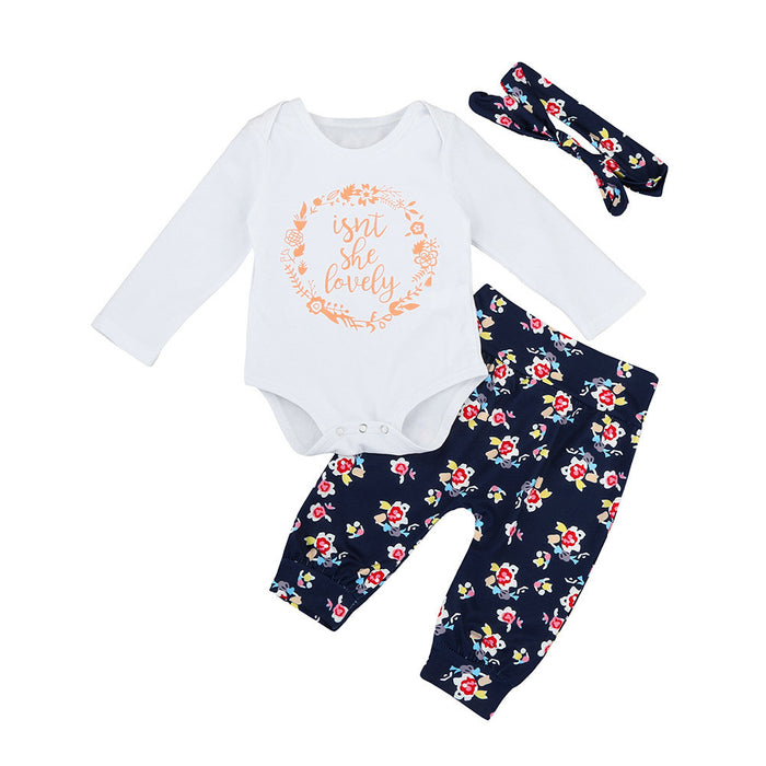 new girls autumn clothes Cotton Letter Romper+Floral Pants +Headband Toddler Outfits Set 6-24M
