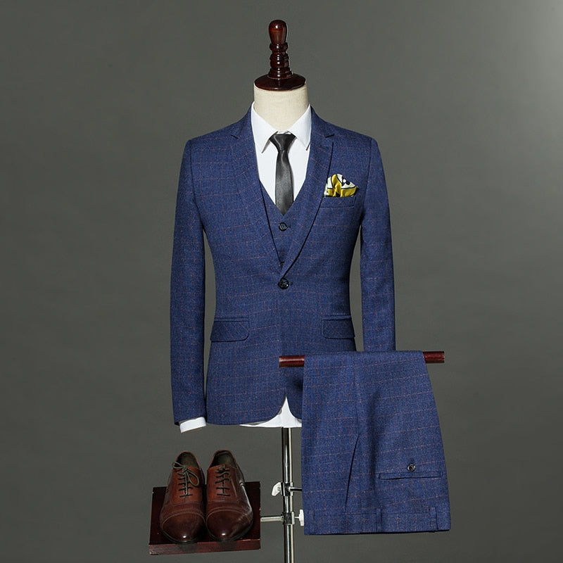 Mens Fashion England Style Slim Fit Suits Male Three pieces Blazer+Pant+Vest