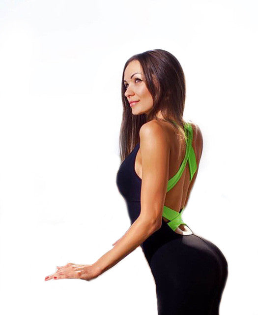 Sexy Full Bandage Sporting Bodysuit Backless Fitness Jumpsuit Women Body