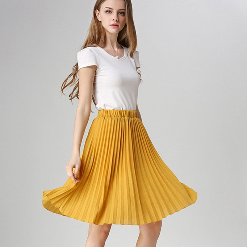 Women Chiffon Pleated Skirt Vintage High Waist Tutu Skirts Womens